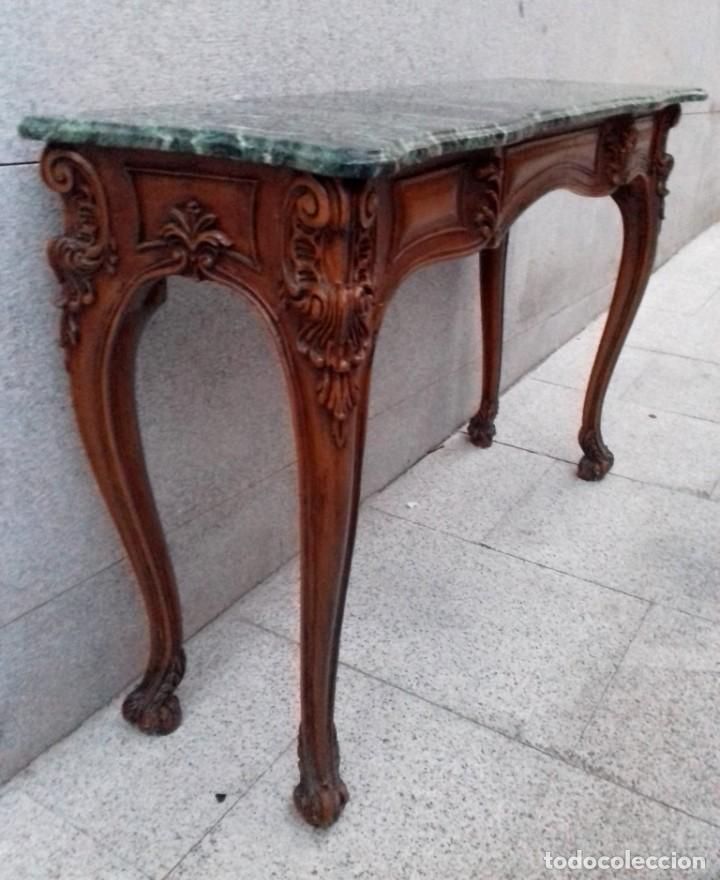 Antigüedades: Consola con espejo en madera tallada y tapa de marmol verde - Foto 7 - 212254117