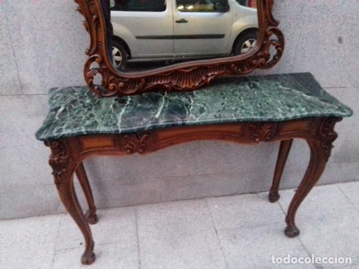 Antigüedades: Consola con espejo en madera tallada y tapa de marmol verde - Foto 10 - 212254117