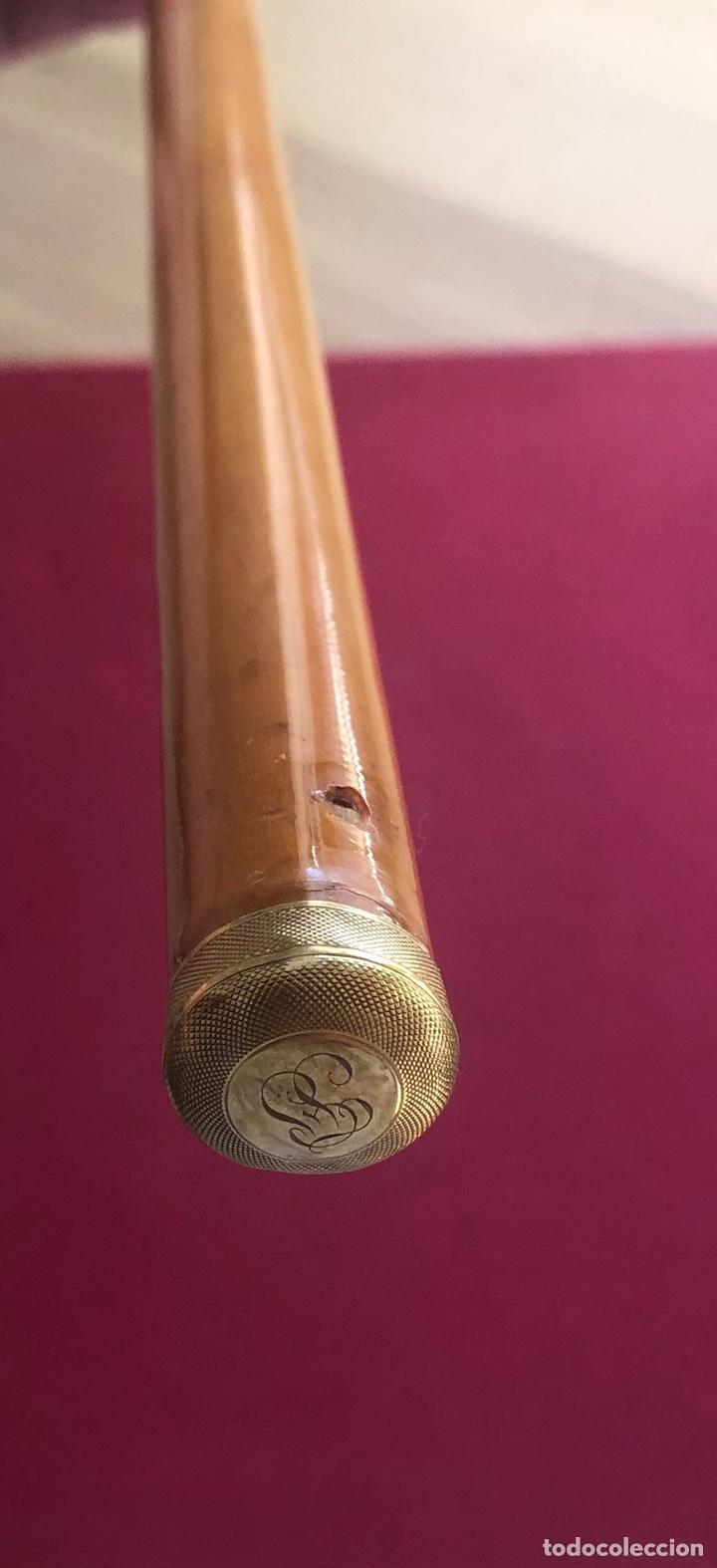 BASTÓN DE PASEO, CON EMPUÑADURA Y DORADO DE LA BASE, EN ORO DE 18K (Antigüedades - Moda - Bastones Antiguos)