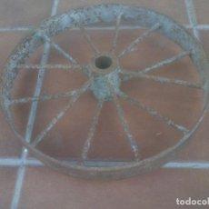 Antigüedades: ANTIGUA RUEDA DE CARRETILLA VAGONETA.. Lote 212298420