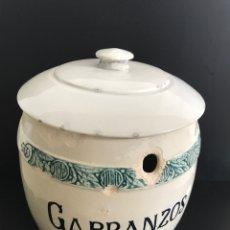 Antiguidades: BOTE TARRO GRANDE DE COCINA DE CERÁMICA DE VALENCIA , MANISES. PRINCIPIOS DE SIGLO XX. GARBANZOS.. Lote 212339761