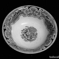Antigüedades: ZAFA DE CERAMICA DE CARTAGENA ESTAMPADA CON ¨JARDÍN EUROPEO CON JARRONES¨.. Lote 212348292