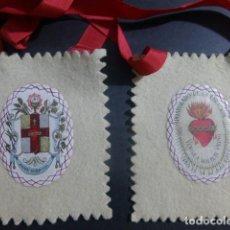 Antigüedades: ESCAPULARIO ANTIGUO SAGRADO CORAZON DE JESUS 10 X 12 CMTS CADA FRONTAL. Lote 212356760