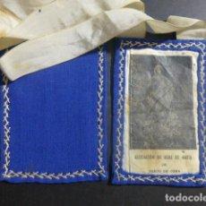 Antigüedades: ESCAPULARIO ANTIGUO HIJAS DE MARIA BURGO DE OSMA SORIA 8 X 12 CMTS CADA FRONTAL. Lote 212356897