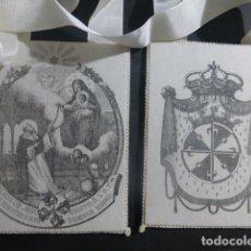 Antigüedades: ESCAPULARIO ANTIGUO MILICIAS DE JESUCRISTO SANTO DOMINGO MADRID 9,5 X 12 CMTS CADA FRONTAL. Lote 212357176