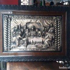 Antigüedades: RERABLO EN METAL REPUJADO ULTIMA CENA JESUS. Lote 212359661