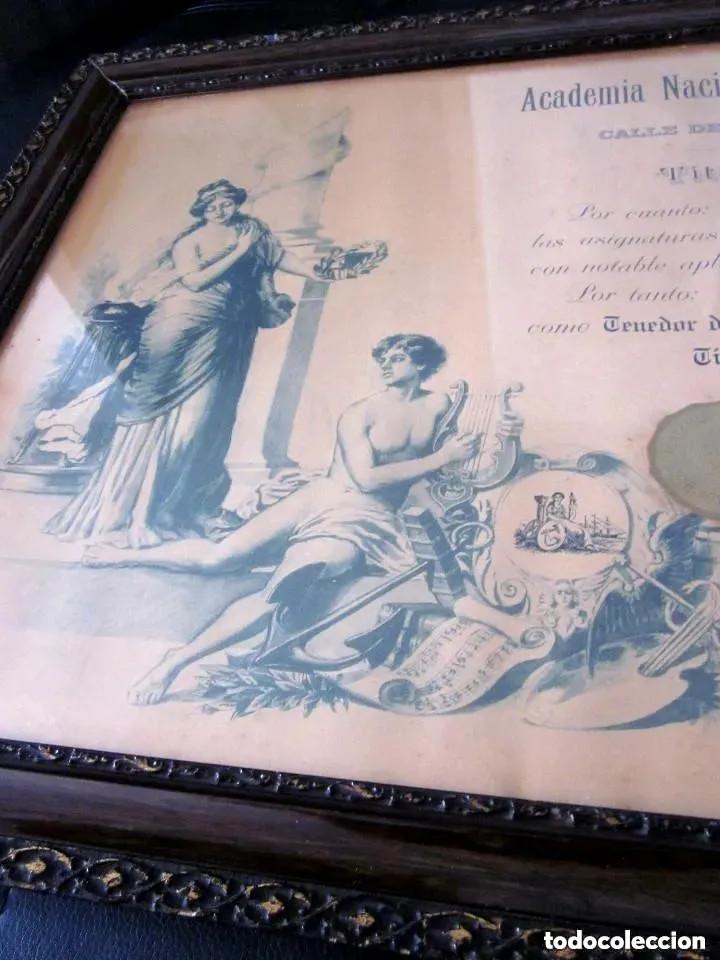 CUADRO MARCO MADERA CRISTAL TÍTULO GRADUACIÓN TENEDOR LIBROS CUBA 1926 HABANA GRANDE 61 CM (Antigüedades - Varios)