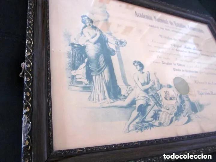 Antigüedades: Cuadro Marco Madera Cristal Título Graduación Tenedor Libros Cuba 1926 Habana grande 61 cm - Foto 4 - 212382170