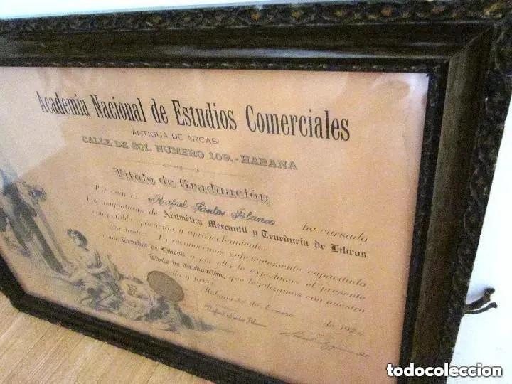 Antigüedades: Cuadro Marco Madera Cristal Título Graduación Tenedor Libros Cuba 1926 Habana grande 61 cm - Foto 7 - 212382170