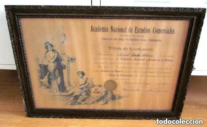 Antigüedades: Cuadro Marco Madera Cristal Título Graduación Tenedor Libros Cuba 1926 Habana grande 61 cm - Foto 10 - 212382170