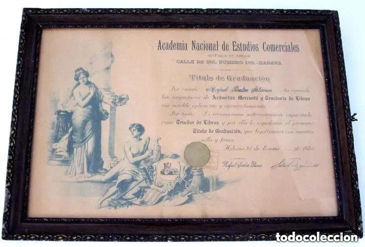 Antigüedades: Cuadro Marco Madera Cristal Título Graduación Tenedor Libros Cuba 1926 Habana grande 61 cm - Foto 11 - 212382170