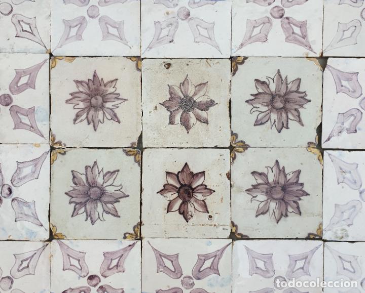 Antigüedades: EXCEPCIONAL PLAFON,PANEL DE AZULEJOS EN AZUL Y MANGANESO,PORTUGAL,S. XVIII - Foto 3 - 212395067
