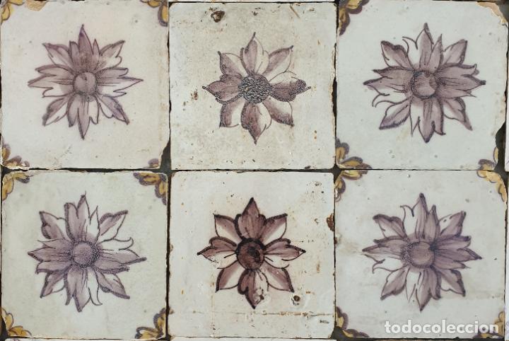 Antigüedades: EXCEPCIONAL PLAFON,PANEL DE AZULEJOS EN AZUL Y MANGANESO,PORTUGAL,S. XVIII - Foto 4 - 212395067