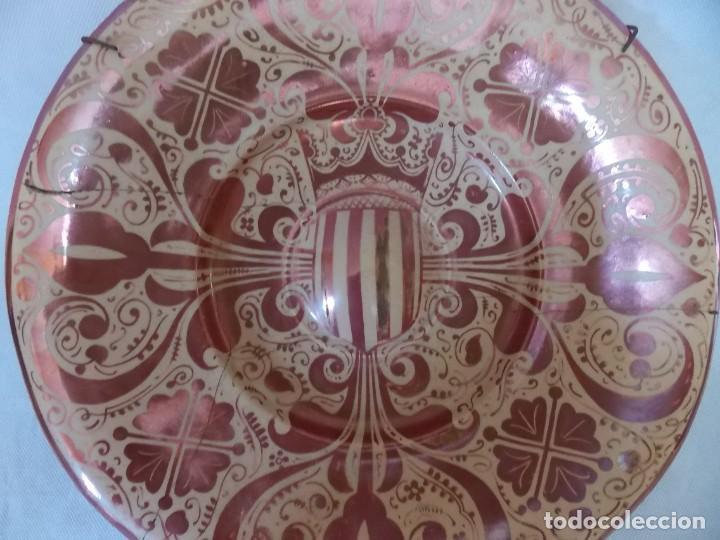 Antigüedades: PLATO CERAMICA LOZA MANISES REFLEJOS - Foto 4 - 212407747