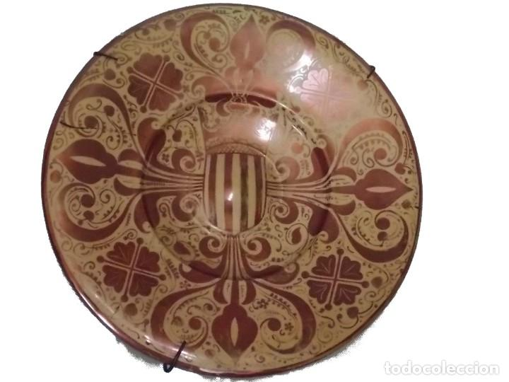 PLATO CERAMICA LOZA MANISES REFLEJOS (Antigüedades - Porcelanas y Cerámicas - Manises)