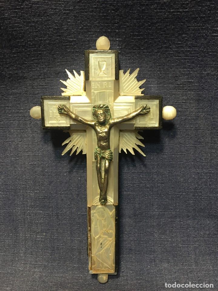 CRUZ NACAR INRI MAGDALENA RESPLANDORES RAYOS CRISTO BRONCE ESTACIONES VIA CRUCIS RECUERDO PEREGRINO (Antigüedades - Religiosas - Cruces Antiguas)