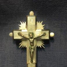 Antigüedades: CRUZ NACAR INRI MAGDALENA RESPLANDORES RAYOS CRISTO BRONCE ESTACIONES VIA CRUCIS RECUERDO PEREGRINO. Lote 212418897