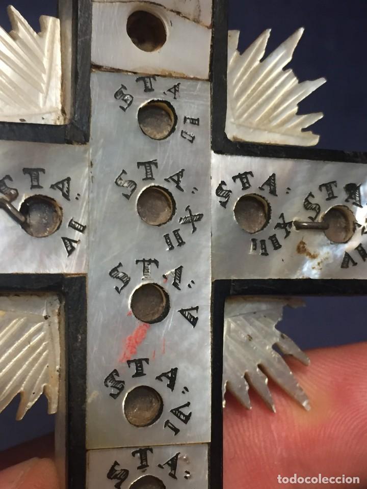 Antigüedades: cruz nacar inri magdalena resplandores rayos cristo bronce estaciones via crucis recuerdo peregrino - Foto 2 - 212418897