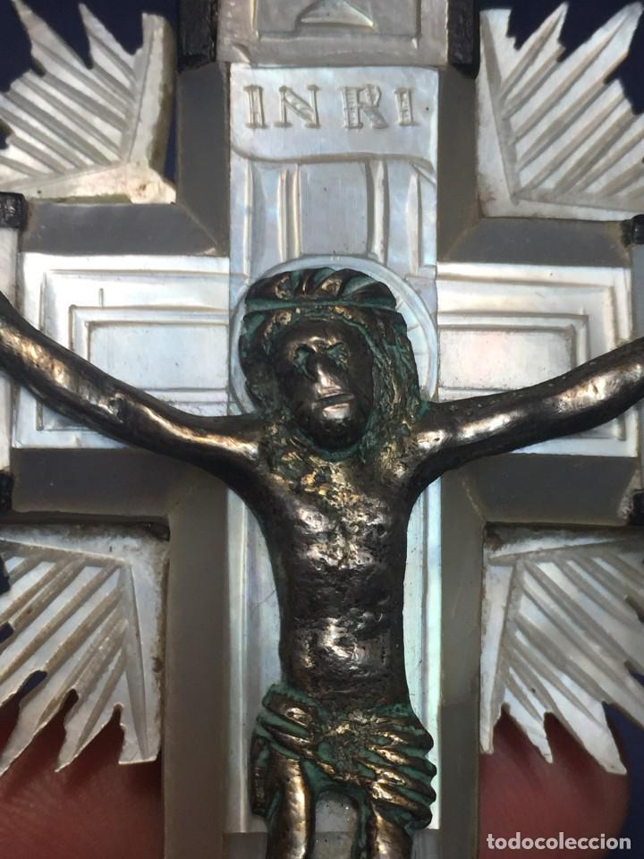 Antigüedades: cruz nacar inri magdalena resplandores rayos cristo bronce estaciones via crucis recuerdo peregrino - Foto 3 - 212418897