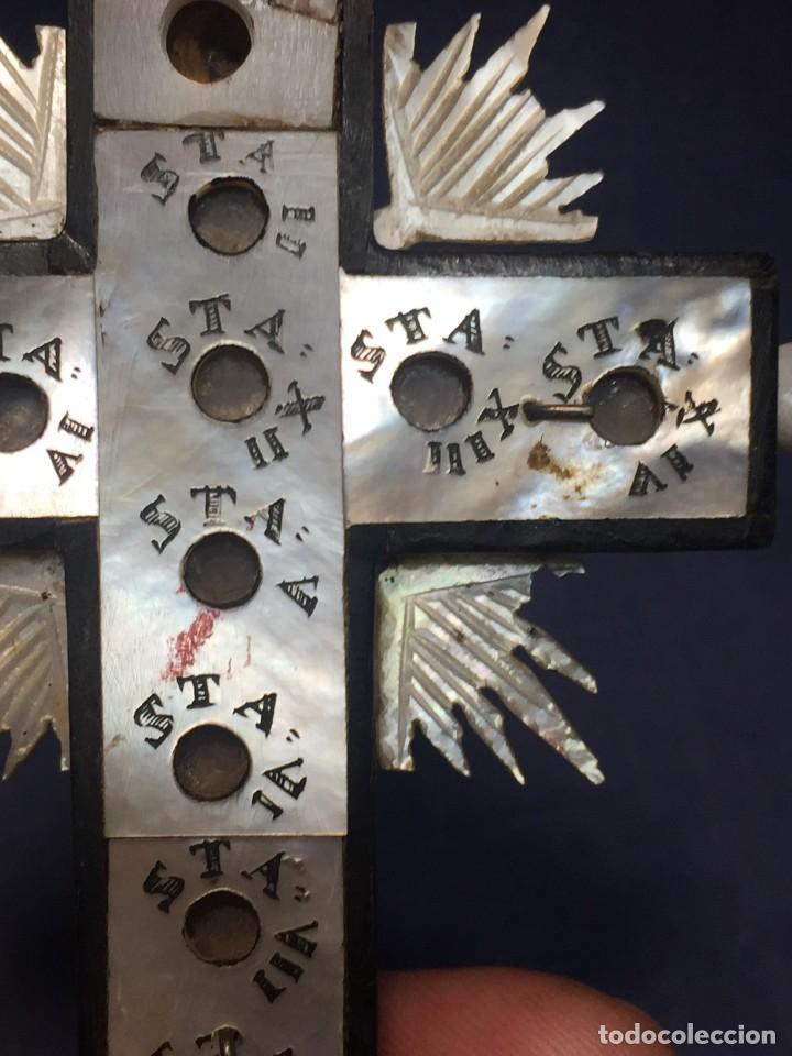 Antigüedades: cruz nacar inri magdalena resplandores rayos cristo bronce estaciones via crucis recuerdo peregrino - Foto 12 - 212418897