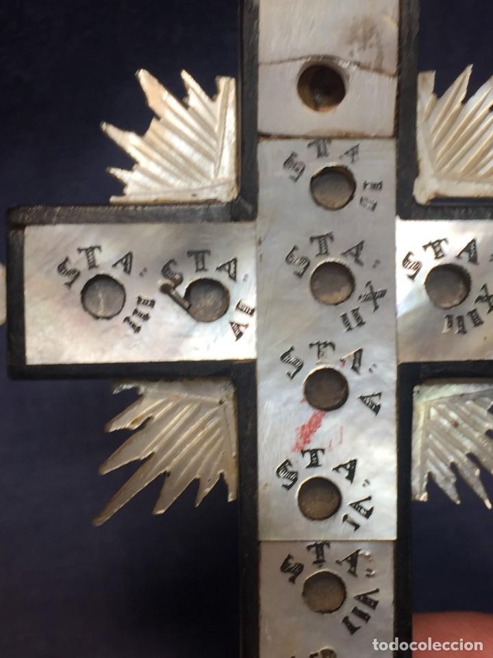 Antigüedades: cruz nacar inri magdalena resplandores rayos cristo bronce estaciones via crucis recuerdo peregrino - Foto 13 - 212418897