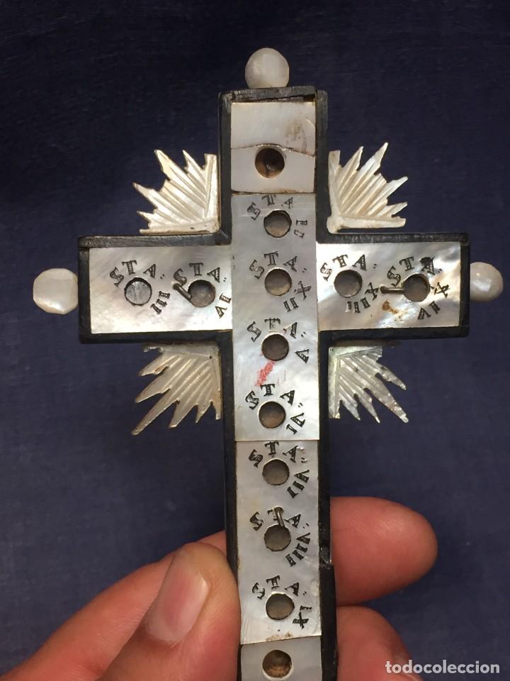 Antigüedades: cruz nacar inri magdalena resplandores rayos cristo bronce estaciones via crucis recuerdo peregrino - Foto 14 - 212418897