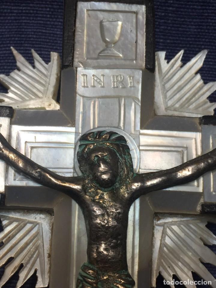 Antigüedades: cruz nacar inri magdalena resplandores rayos cristo bronce estaciones via crucis recuerdo peregrino - Foto 20 - 212418897
