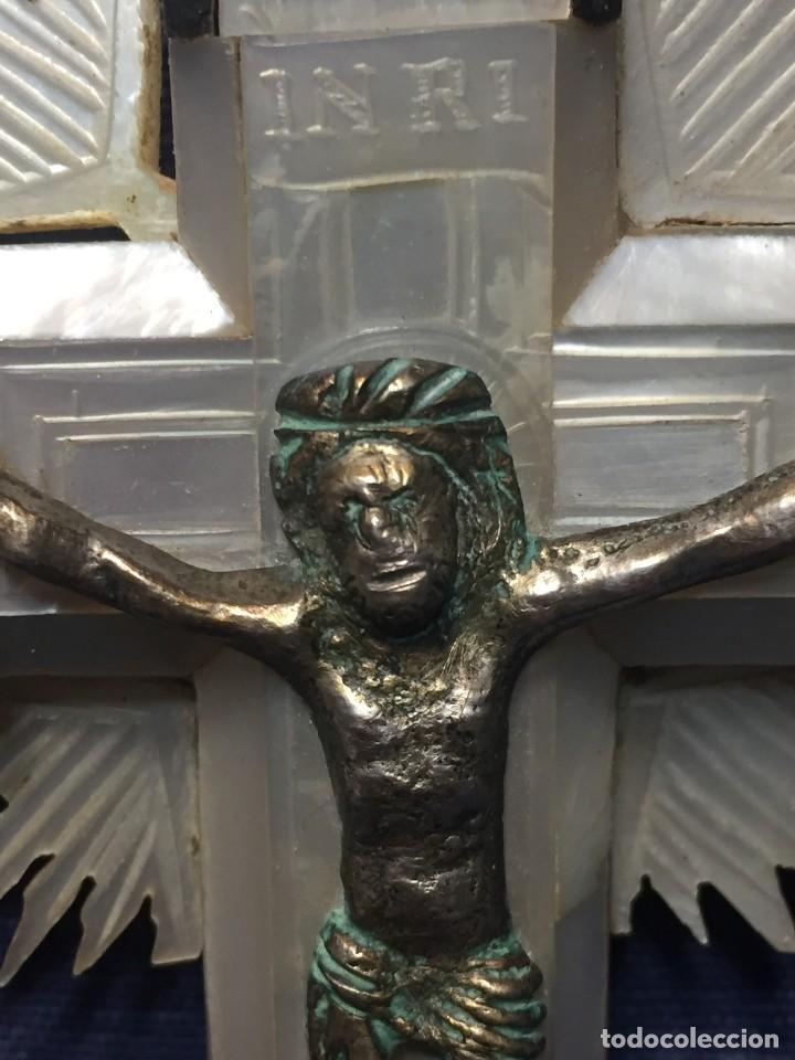 Antigüedades: cruz nacar inri magdalena resplandores rayos cristo bronce estaciones via crucis recuerdo peregrino - Foto 22 - 212418897