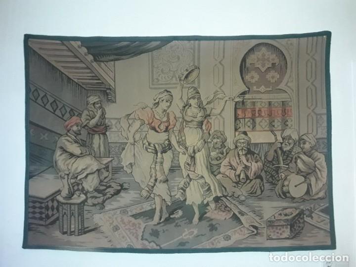 EXCEPCIONAL ANTIGUO TAPIZ DE GRAN TAMAÑO CON BELLOS COLORES MOTIVOS ÁRABES 181X127CM (Antigüedades - Hogar y Decoración - Tapices Antiguos)