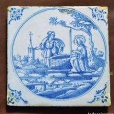 Antigüedades: BONITO AZULEJO DE DELFT. SIGLO XVIII. MEDIDAS: 13X13X0'6 CM.. Lote 212428701