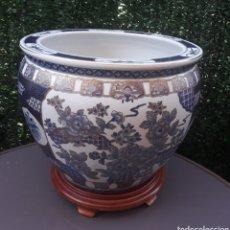 Antigüedades: GRAN PECERA CHINA O MACETERO, SELLADA.. Lote 212466123