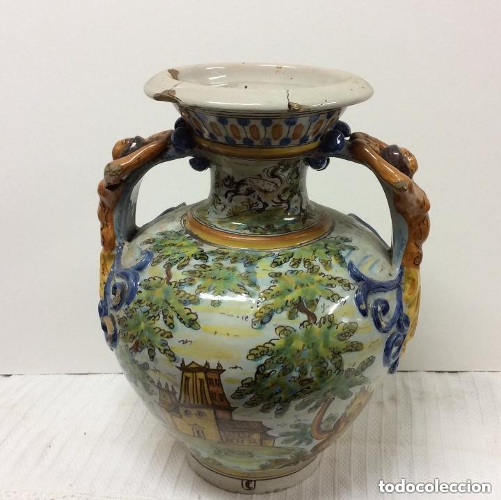 Antigüedades: Jarrón de cerámica de Talavera - Ruiz de Luna.Firmado - Foto 5 - 212475423