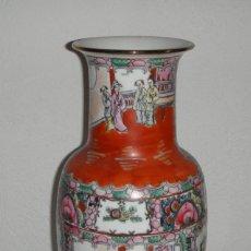 Antigüedades: JARRÓN CHINO. PINTADO A MANO. PORCELANA. CANTÓN. SELLADO EN LA BASE. (38 CM DE ALTURA). Lote 212480757