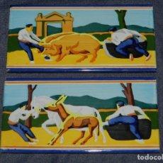 Antigüedades: (M) 2 AZULEJOS ESCENAS VASCAS - RAMIRO ARRUE ??, 20X10CM, BUEN ESTADO. Lote 212493496