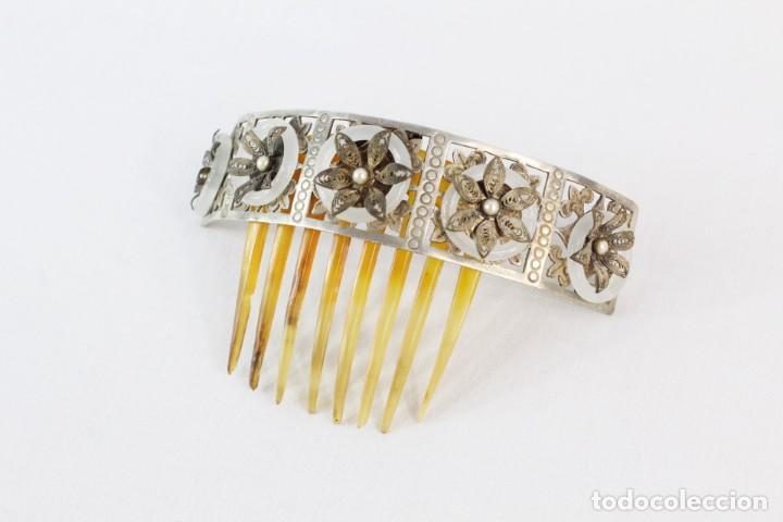Antigüedades: Preciosa peineta tiara isabelina s XIX. Montaje de bisagra articulado, metal cincelado. - Foto 3 - 212501965