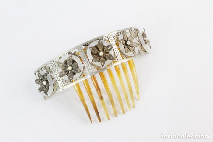 Antigüedades: Preciosa peineta tiara isabelina s XIX. Montaje de bisagra articulado, metal cincelado. - Foto 4 - 212501965