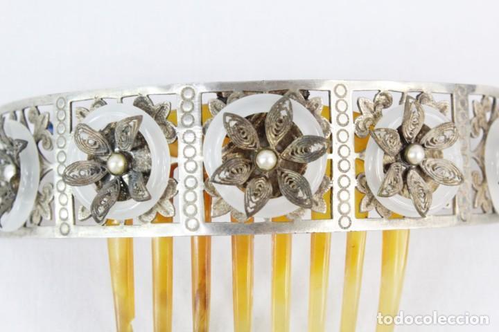 Antigüedades: Preciosa peineta tiara isabelina s XIX. Montaje de bisagra articulado, metal cincelado. - Foto 5 - 212501965