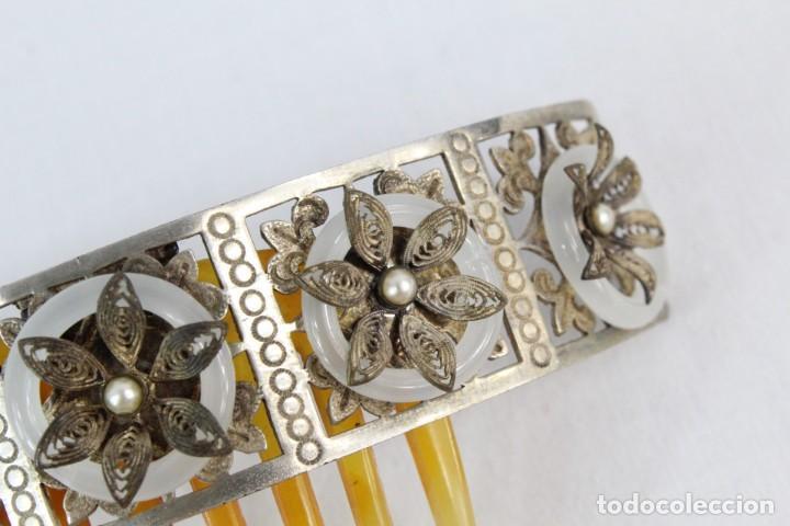 Antigüedades: Preciosa peineta tiara isabelina s XIX. Montaje de bisagra articulado, metal cincelado. - Foto 6 - 212501965