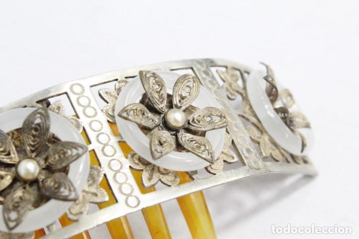 Antigüedades: Preciosa peineta tiara isabelina s XIX. Montaje de bisagra articulado, metal cincelado. - Foto 10 - 212501965