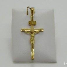 Antigüedades: CRUZ MACIZA CON CRISTO EN ORO DE 18 KLTS.(750MM). Lote 212530253