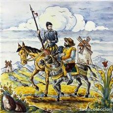 Antigüedades: PLACA DE DON QUIJOTE Y SANCHO PANZA PINTADO A MANO EN AZULEJO DE CERÁMICA ARTÍSTICA DE TALAVERA. Lote 212575940