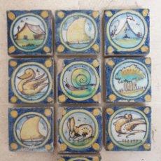 Antigüedades: MUY BONITO LOTE DE 10 OLAMBRILLAS EN CERAMICA DE TRIANA,(SEVILLA)PRINCIPIOS S. XX. Lote 212593368