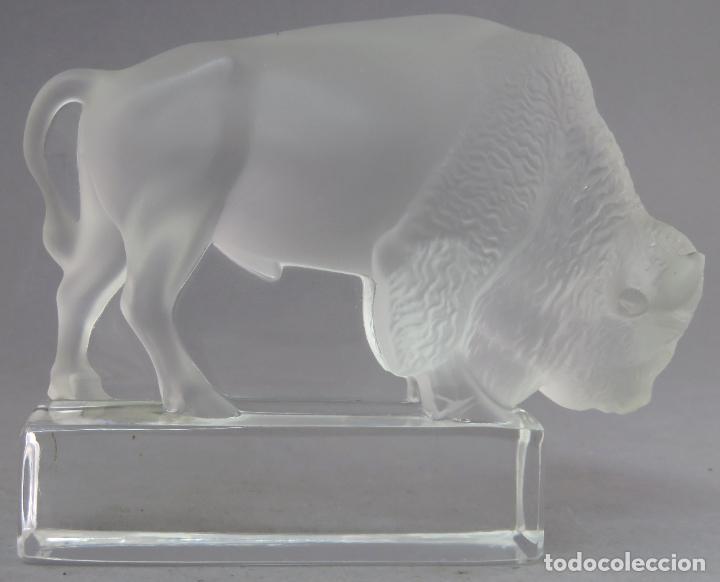 Antigüedades: Bisonte en vidrio prensado cristal glace tallado Lalique Francia siglo XX - Foto 3 - 212604586