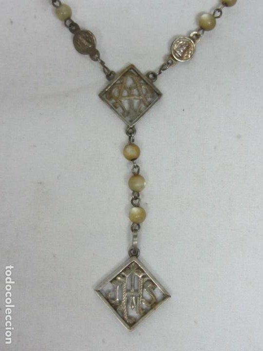 Antigüedades: Rosario en nácar y plata con anagrama JHS - Siglo XIX - Foto 2 - 212705383