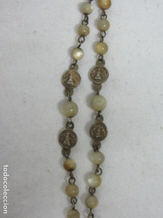 Antigüedades: Rosario en nácar y plata con anagrama JHS - Siglo XIX - Foto 4 - 212705383