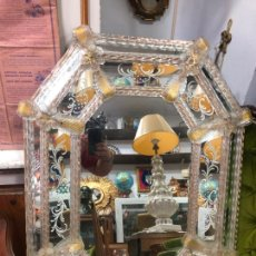 Antigüedades: ANTIGUO ESPEJO VENECIANO CRISTAL DE MURANO - MEDIDA 82X63,5 CM. Lote 212706345