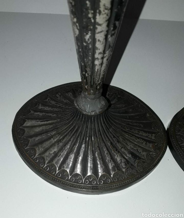 Antigüedades: Pareja de candereros georgianos en cobre plateado. Inglaterra siglo XVIII / XIX - Foto 2 - 212733528