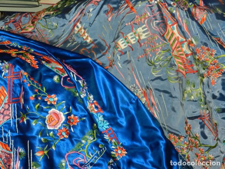 Antigüedades: (M) MANTÓN DE MANILA ESCENA CHINA DE COLOR AZUL, 140X140CM, BUEN ESTADO - Foto 10 - 212750905