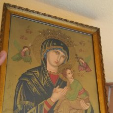Antigüedades: ANTIGUO ICONO CROMOLITOGRAFÍA CON DORADO SANTA MARIA DEL PERPETUO SOCORRO, ENMARCADO ORIGINAL. Lote 212759192