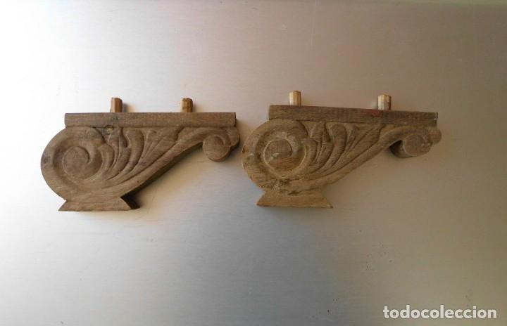 PAREJA DE ANTIGUAS PATAS DE MADERA PARA CAMA O MUEBLE (Antigüedades - Muebles Antiguos - Camas Antiguas)
